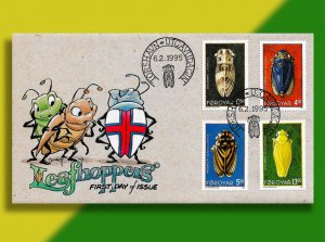 Faroes Leafhopper Shows National Pride!  Handcolored '95 FDC for Set of 4 BUGS!!