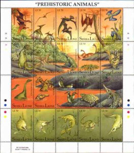 Sierra Leone MNH S/S 1498 Dinosaurs 20 Stamps SCV 22.50 Large Size