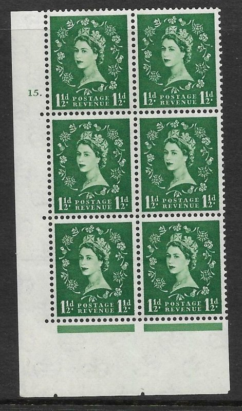 1½d Wilding Multi Crown on Cream Cyl 15 Dot perf A(E/I) UNMOUNTED MINT