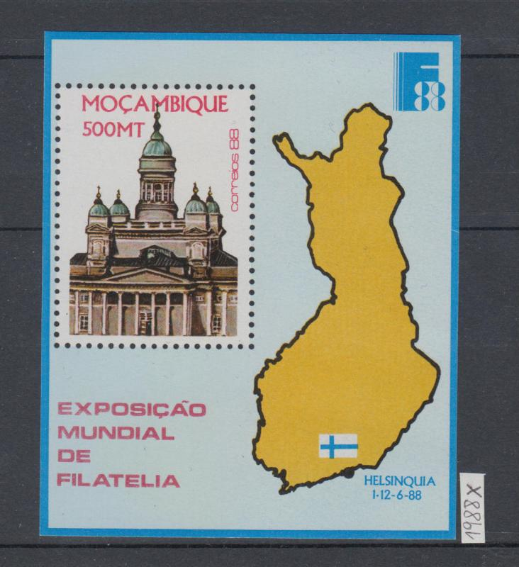 XG-AJ400 MOZAMBIQUE IND - Architecture, 1988 World Philatelic Expo MNH Sheet