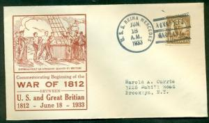 WAR OF 1912 COMMEMORATION COVER - U.S.S. REINA MERCEDES 1933