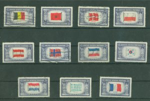 USA Stamps 1943 Overrun Countries of World War II Scott 909-921 USED
