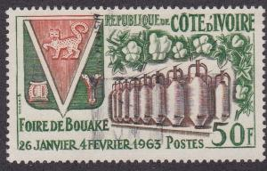 Ivory Coast # 199, Cotton & Spindles, Used, 1/2 Cat..