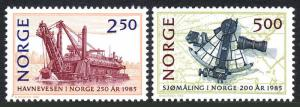 Norway 869-870, MNH. Ship Navigation. Sextant and chart, 1985