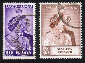 MALAYA PENANG 1948 Silver Wedding set fine used............................10527