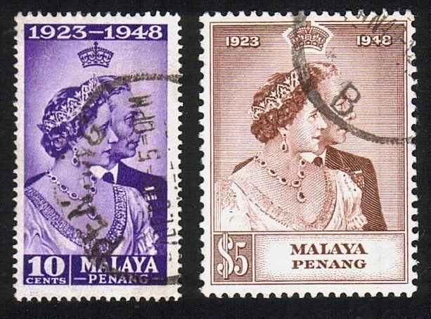 MALAYA PENANG 1948 Silver Wedding set fine used............................10527