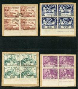 Pitcairn Islands 1949 KGVI UPU complete set in VFU blocks. SG 13-16. Sc 13-16.