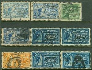 EDW1949SELL : USA 1885-1914 Scott #E1-E9 Used. Minor faults. Scarce Catalog $379