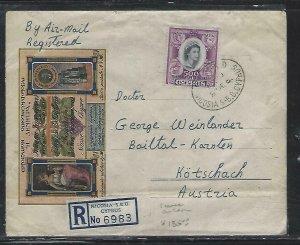 CYPRUS (P2408B) COVER  REG A/M  1961 QEII SURCH 500M NICOSIA TO AUSTRIA