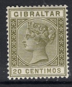 GIBRALTAR SG25 1896 20c OLIVE-GREEN MNH