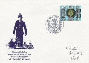 GBP129) FDC GB 1977, Merseyside Police celebrate the Silver Jubilee of Queen Eli