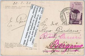LIBYA -  POSTAL HISTORY - Sassone 118 on POSTCARD - BIRD - NICE!  1933