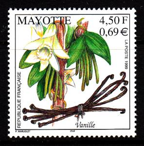 Mayotte MNH Scott #130 4.50fr Vanilla - flower, beans