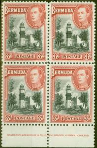 Bermuda 1938 3d Black & Rose-Red SG114 V.F MNH Imprint Block of 4