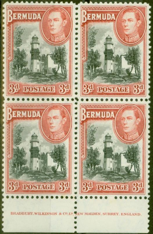 Bermuda 1938 3d Black & Rose-Red SG114 V.F MNH Imprint Block of 4