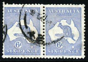 AUSTRALIA 1918 'Roo 6d. Dull Blue A PAIR Die II Wmk Narrow A  Perf 12 SG 38b VFU
