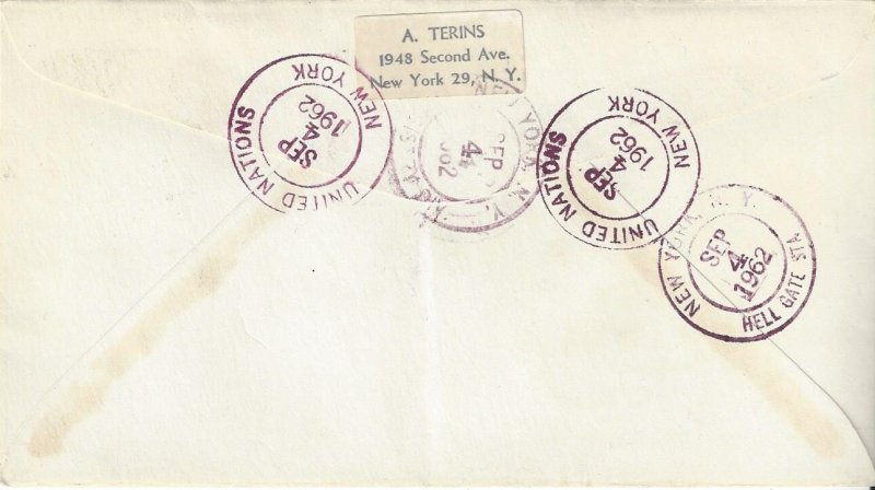 United Nations New York 10, 102 Anti-Malaria Cover Registered  1962 Terins