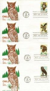 US FDC #1760-1763 Owls, Jackson (6459)