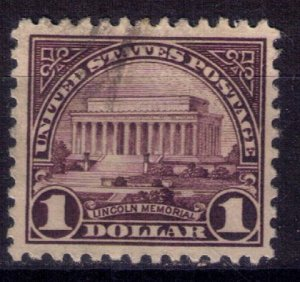 US Scott #571 Used $1 Lincoln MemorialVery Fine