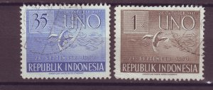 J25499 JLstamps 1951 indonesia hv,s of set used #366-7 doves