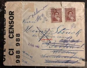 1939 Chilecito Argentina Dual Censored Cover To Berlin Germany