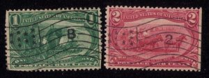 #285-286 Fancy Flag B & Flag 2 Cancellations UsedTrans Mississippi ExpoF-VF