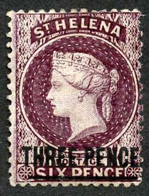 St Helena SG11 3d Deep Dull Purple Wmk CC Bar type A M/Mint cat 120 pounds