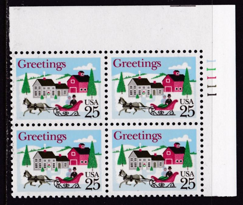 United States 1988 Christmas Issue  Plate Nr.Block of Four VF/NH Sleigh Village