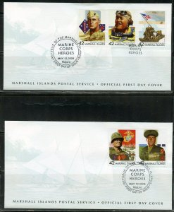 MARSHALL ISLANDS 2008 MARINE CORPS HEROES ON FOUR FIRST DAY COVERS