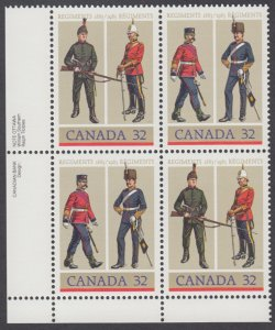 Canada - #1008a Army Regiments Plate Block - MNH