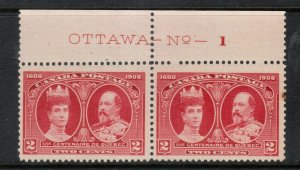 Canada #98 Mint Plate #1 Very Fine Never Hinged Pair - Trivial Tone Spot