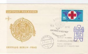 Germany  Berlin to Prague 1963 flight stamps cover  R20436
