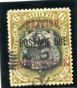 North Borneo 1912 KGV Postage Due 6c black & bistre-brown VFU. SG D42. Sc J25.