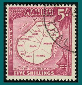 Nauru 1954 Map, 5s used #47,SG56