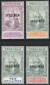 Trinidad 1896 5s(x2)-£1 WMK CA o CROWN SPECIMEN SG122s-132s Sc 87s-90s LMM/MLH