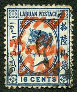 Labuan One Dollar on 16c Blue looks like a forgery to me