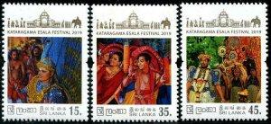 HERRICKSTAMP NEW ISSUES SRI LANKA Sc.# 2188-90 Ruhunu Maha Festival 2019