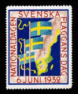 REKLAMEMARKE SWEDEN POSTER STAMP SVENSKA FLAGGANS DAG 1932 SWEDEN FLAG DAY MNG