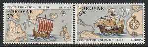 1992 Faroe Islands - Sc 236-7 - MNH VF - 2 single - Europa