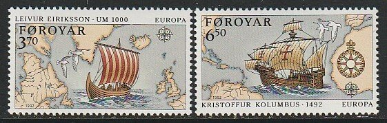 1992 Faroe Islands - Sc 236-7 - MNH VF - 2 single - Europa