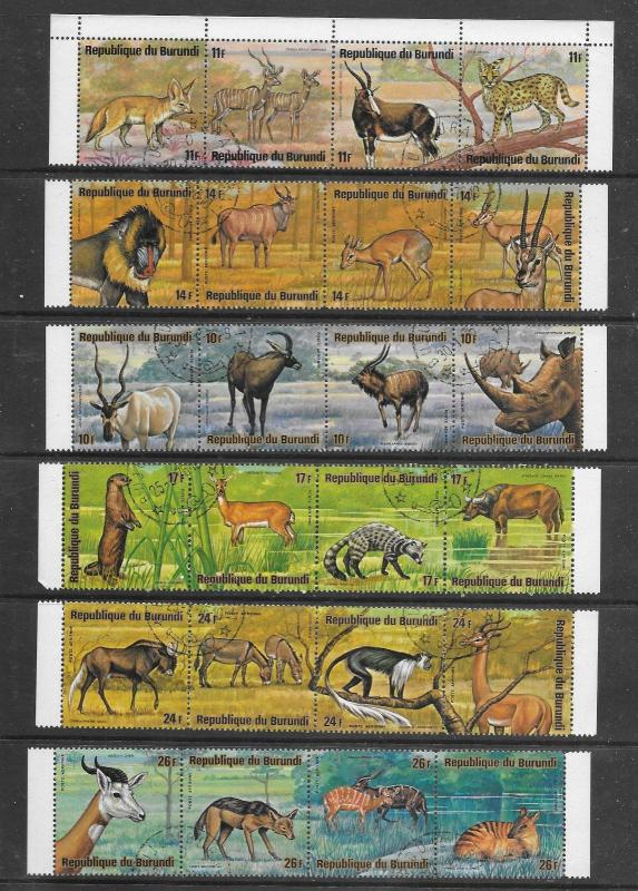 Burundi #479-84,C218-23 10 Strips of 4 Animals 40 Stamps.