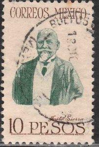 MEXICO 828, $10Pesos JUSTO SIERRA. USED. VF. (997)