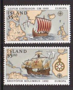 Iceland   #749-750  MNH  1992  Europa