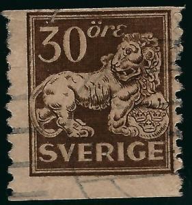 Sweden #125 Lion Coil Used F-VF SC$16...Regal Stamp!