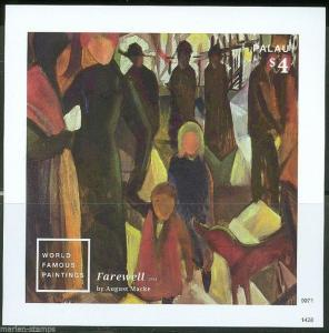 PALAU 2014 PAINTING 'FAREWELL' BY AUGUSTE MACKE SOUVENIR SHEET   MINT NH