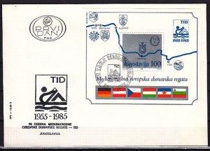 Yugoslavia, Scott cat. 1742. Danube Rowing Regatta s/sheet. First day cover. ^