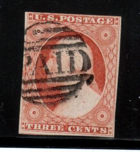 USA #11a Used Fine - Very Fine Pos 65L1L With Paid Cancel **With Certificate**