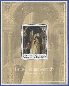 BRITISH VIRGIN ISLANDS Sc 735 $2 Christmas 1991, S/S, MNH VF, Art Painting