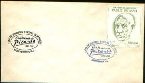 MEXICO 1251, CACHETED FDC. Centenary of the Birth of Pablo Picasso. F-VF.