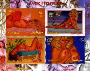 Somalia 2003 Jack Henslee NUDES Paintings Sheet (4) Perforated Mint (NH)